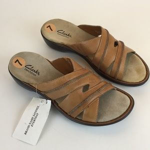 CLARKS Bendables 7M Sandals 82094 Brown Leather
